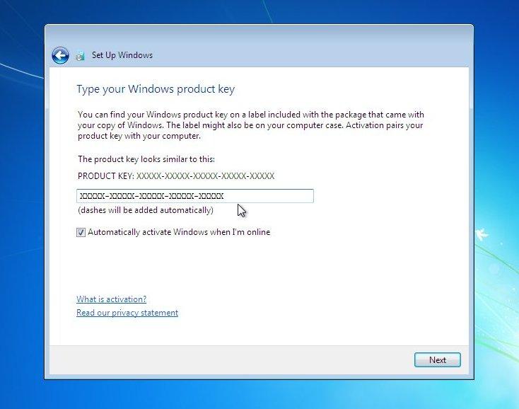 Вид экрана установки Windows 7 - ключ продукта.